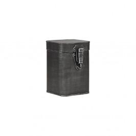 Čierna kovová úložná dóza LABEL51, výška 17 cm