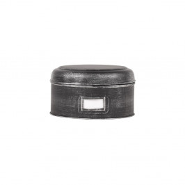 Čierna kovová dóza LABEL51 Antigue, ⌀ 21,5 cm