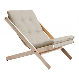 Sivé skladacie kreslo z bukového dreva Karup Design Boogie Raw/Linen