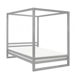 Sivá drevená dvojlôžková posteľ Benlemi Baldee, 200 × 180 cm