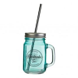 Modrý pohár s viečkom a slamkou Premier Housewares Mason, 450 ml