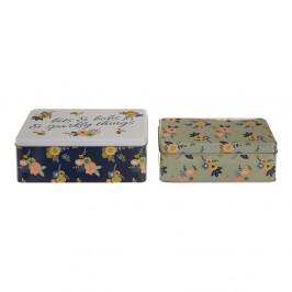 Sada 2 cínových úložných boxov Premier Housewares Alicia, 13×20 cm