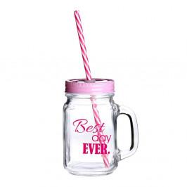 Pohár s viečkom a slamkou v ružovej farbe Premier Housewares Best Day, 450 ml