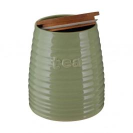 Zelená dóza na čaj s bambusovým vrchnákom Premier Housewares Winnie, 950 ml