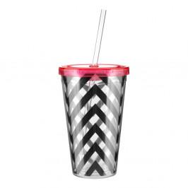 Pruhovaný pohárik s ružovým viečkom Premier Housewares Chevron, 450 ml