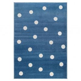 Modrý koberec s bodkami KICOTI Blue Peas, 240 × 330 cm