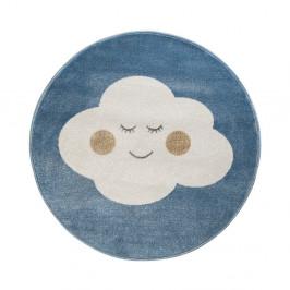 Modrý okrúhly koberec s motívom mraku KICOTI Blue Cloud, 133 × 133 cm
