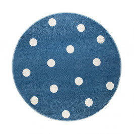 Modrý guľatý koberec s bodkami KICOTI Blue, 100 × 100 cm