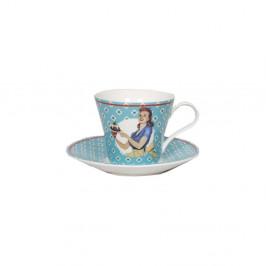 Keramický hrnček s tanierikom Antic Line Vintage Bleu