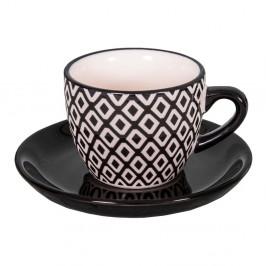 Čierna vzorovaná šálka s tanierikom z pieskovca Antic Line