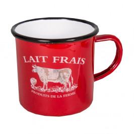 Červený smaltovaný hrnček Antic Line Lait Frais