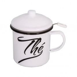 Smaltovaný biely hrnček s viečkom a čajovým sitkom Antic Line Classic, výška 11cm