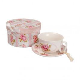 Porcelánový hrnček s tanierikom v darčekovom boxe Antic Line Roses