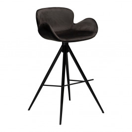 Čierna barová stolička DAN–FORM Denmark Gaia Velvet, výška 98 cm