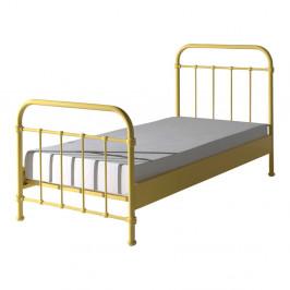 Žltá kovová detská posteľ Vipack New York, 90×200 cm