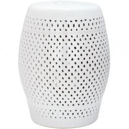 Biely keramický stolík vhodný do exteriéru Safavieh Diamond, ø35cm