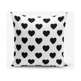 Čiernobiela obliečka na vaknúš s motívmi srdiečok Minimalist Cushion Covers, 45×45 cm