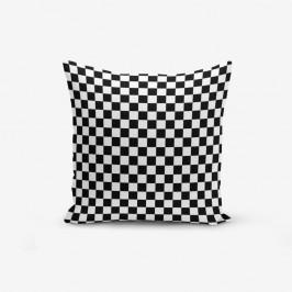 Čierno-biela obliečka na vankúš s prímesou bavlny Minimalist Cushion Covers Black White Ekose, 45×45 cm