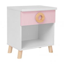 Ružovo-biely nočný stolík KICOTI Circle