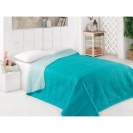 Tyrkysový obojstranný pléd na posteľ z mikrovlákna, 200 × 220 cm