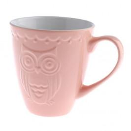 Ružový keramický hrnček Dakls Owl, 530 ml