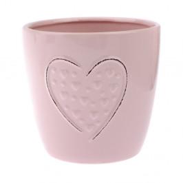 Ružový keramický kvetináč Dakls Hearts Dots, výška 14,8 cm
