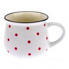 Biely keramický hrnček s červenými bodkami Dakls Happy Time, 770 ml