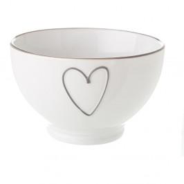 Biela keramická miska Unimasa Heart, 580ml