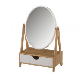 Zrkadlo na bambusovém stojane so zásuvkou Unimasa Coco