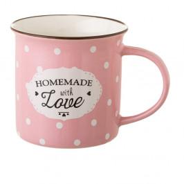 Ružový hrnček z kostného porcelánu Unimasa Homemade, 230 ml