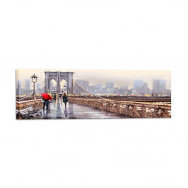 Obraz Styler Canvas Watercolor New York Bridge, 45 × 140 cm