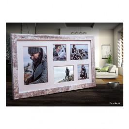 Sivo-biely rámček na 5 fotografií Styler Narvik, 51×27 cm