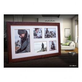 Tmavohnedý rámček na 5 fotografií Styler Narvik, 51×27 cm