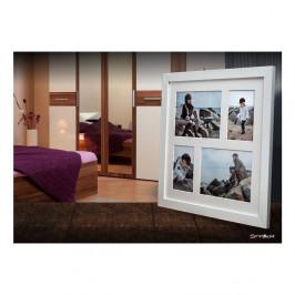 Biely rámček na 4 fotografie Styler Narvik, 39×39 cm