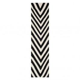 Vlnený koberec Safavieh Serena, 76x182 cm, čierny