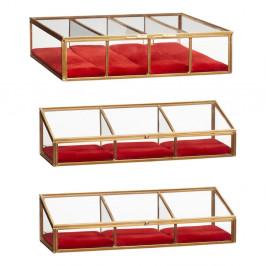 Sada 3 presklených úložných boxov s mosadznou výstielkou Hübsch Rojo