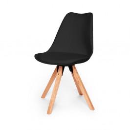 Súprava 2 čiernych stoličiek s podnožím z bukového dreva loomi.design Eco