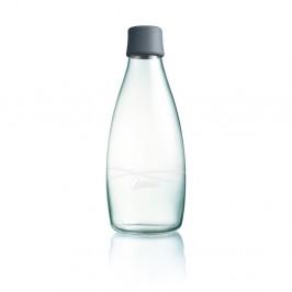 Sivá sklenená fľaša ReTap s doživotnou zárukou, 800 ml