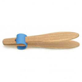 Kliešte na toasty s modrým detailom z bukového dreva Jean Dubost Handy, dĺžka 15 cm