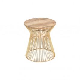 Odkladací stolík v zlatej farbe s drevenou doskou WOOX LIVING Chloe, ⌀ 40 cm