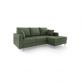 Zelená rozkladacia pohovka s úložným priestorom Mazzini Sofas Aubrieta, pravý roh