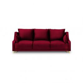 Červená trojmiestna rozkladacia pohovka s úložným priestorom Mazzini Sofas Pansy