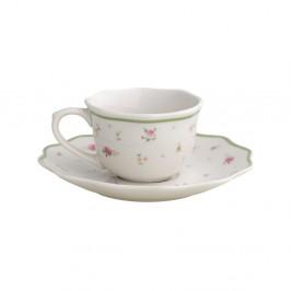 Sada 2 bielych porcelánových hrnčekov s tanierikmi Brandani Nonna Rosa, 90 ml