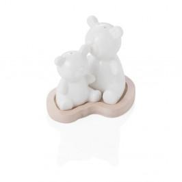 Biela porcelánová soľnička a korenička na bambusovom podnose Brandani Bear