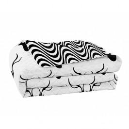 Čierno-biely obojstranný pléd z mikrovlákna DecoKing Hypnosis Deerest, 210 x 170 cm