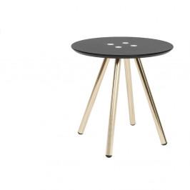 Čierny konferenčný stolík s pozlatenými nohami Letmotiv Sliced, ø 40 cm