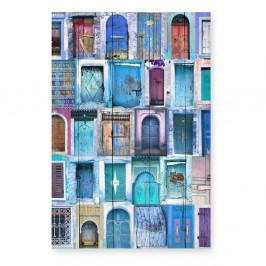 Nástenná ceduľa z borovicového dreva Really Nice Things Blue Doors, 40×60 cm