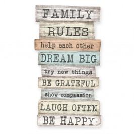 Dekoratívna ceduľa Little Nice Things Family Rules, 50 × 30 cm