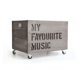 Sivý pojazdný box Really Nice Things Happy Favourite Music