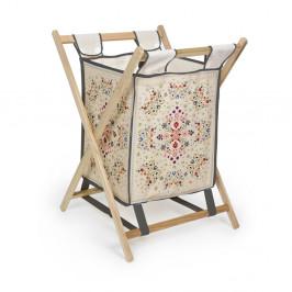 Úložný kôš s konštrukciou z borovicového dreva Madre Selva Flowers Tapestry, 60 l